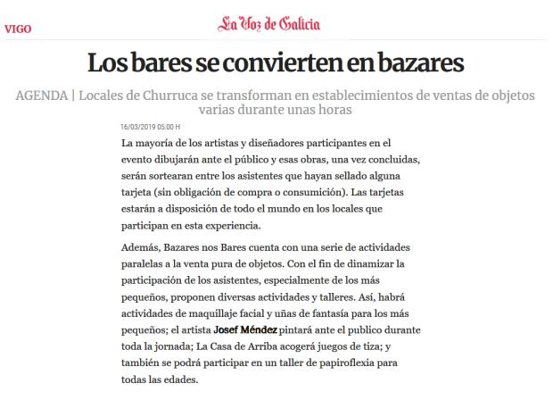 La Voz de Galicia-Bazares Bares Marzo 2019